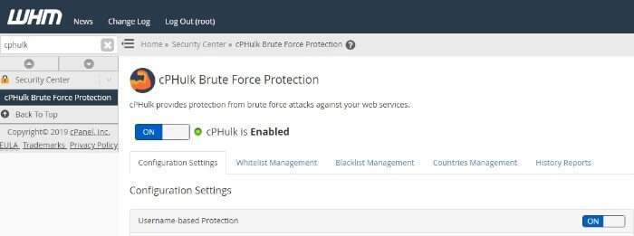 Enable cphulk brute force protection service in WHM