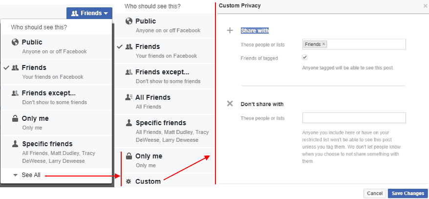 Facebook news feed, post custom audience