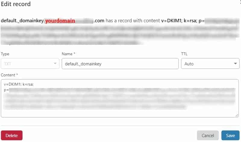email how to edit dkim record