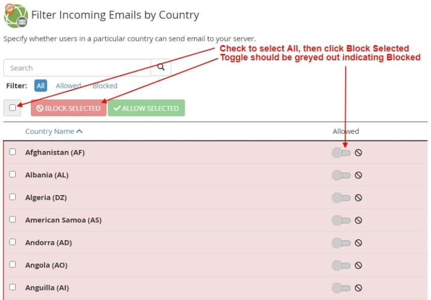 email security blocked countries