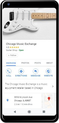 Google My Business profile on smartphone