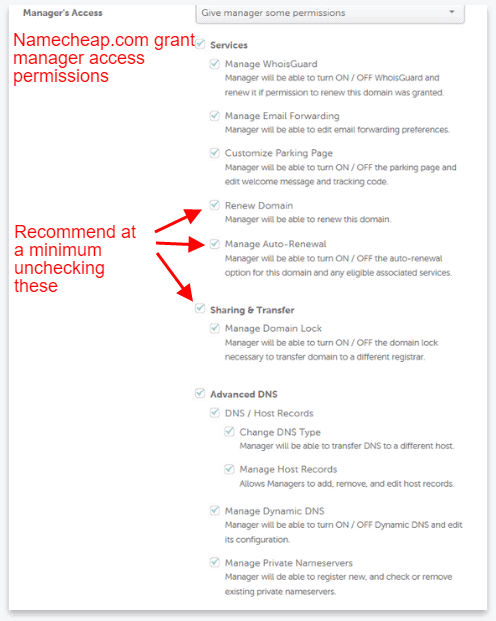 domain manager permissions