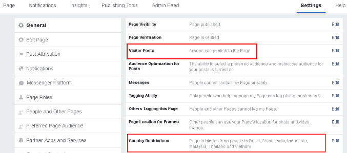 Face Page restrictions