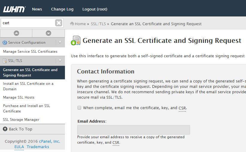 generate ssl signing request in WHM